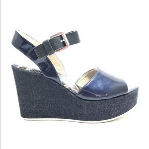 AGL Women's Navy Blue Leather Denim Wedge Sandals